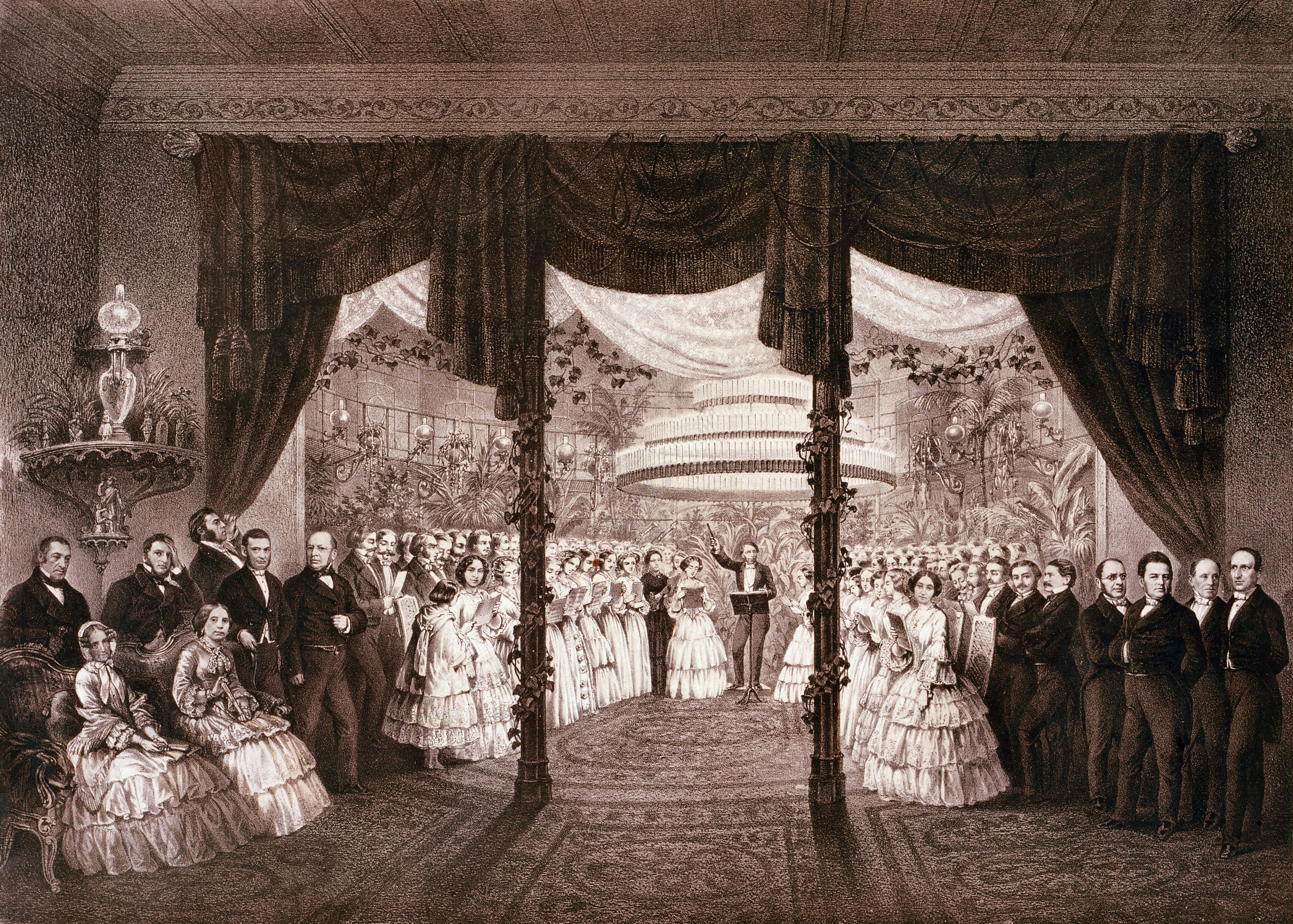Ilustracja 3. <i>Oratorium w Pałacu Kronenberga</i>, litografia Maksymiliana Fajansa, 1855, Muzeum Narodowe w Warszawie, Gr.Pol.21952 MNW, fot. Piotr Ligier
