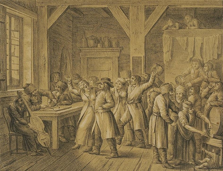 Ilustracja 1. Kazimierz Żwan, <i>Karczma</i>, 1818, litografia dwubarwna, Biblioteka Narodowa, G.50918/II