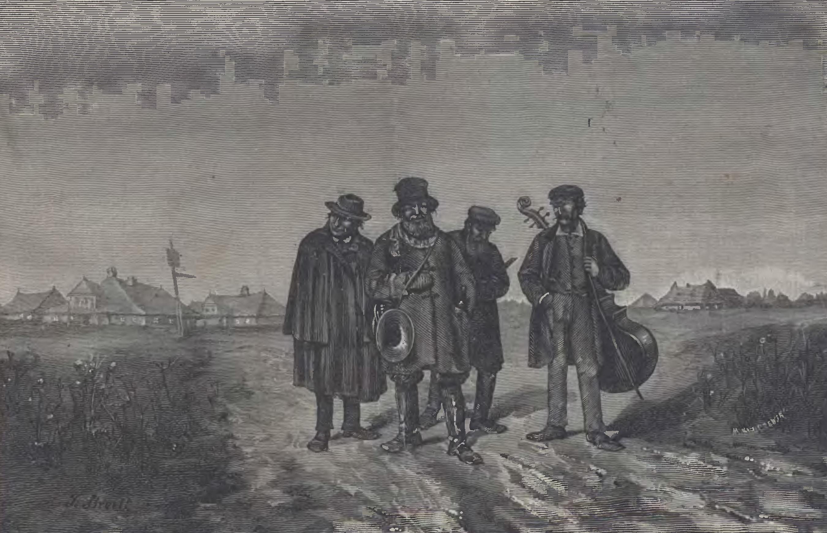 """Ilustracja 2. Franciszek Streitt, <i>Wędrujący kwartet<i/>, """"Kłosy"""", nr 535 z 30 IX 1875, Biblioteka Cyfrowa Uniwersytetu Łódzkiego"""