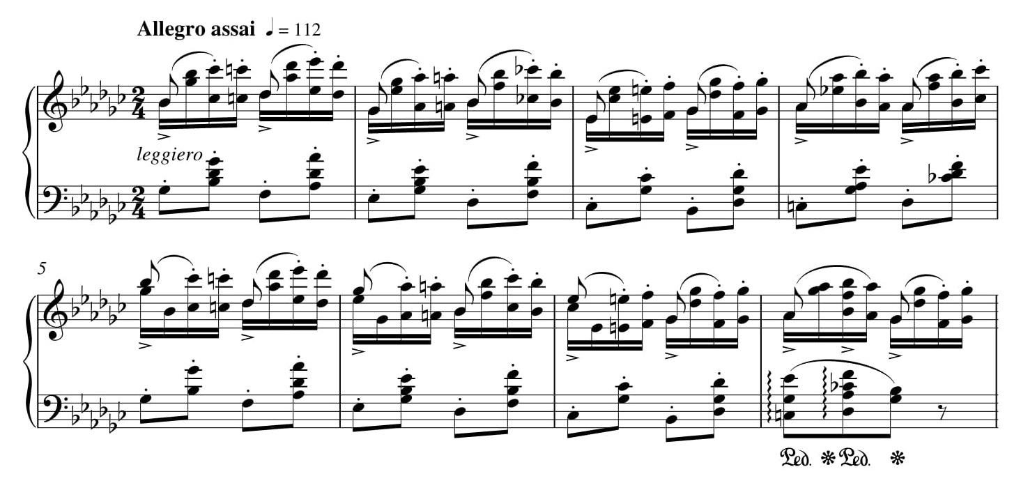 Przykład 5. Fryderyk Chopin, <i>Etiuda Ges-dur</i> op. 25 nr 9, t. 1–8