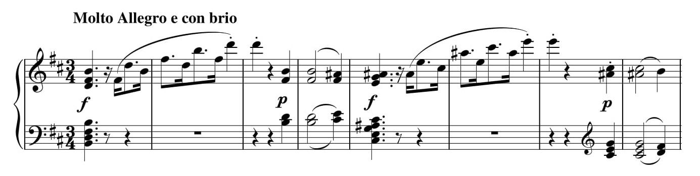 Przykład 6. Ludwig van Beethoven, <i>Sonata fortepianowa</i> op. 10 nr 1, cz. I, <i>Allegro molto e con brio</i> w transpozycji o półton w doł, t. 1–8