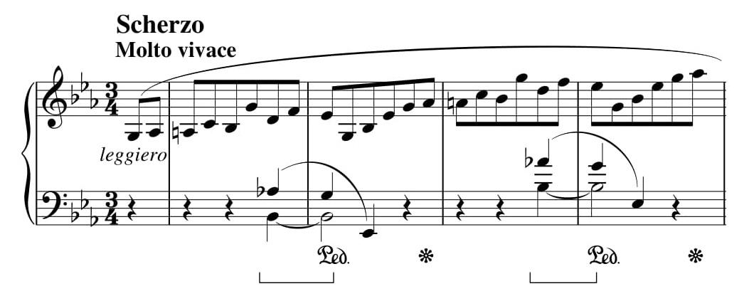 Przykład 13. Fryderyk Chopin, <i>Sonata h-moll</i> op. 58, cz. II, <i>Scherzo</i>, t. 1–4