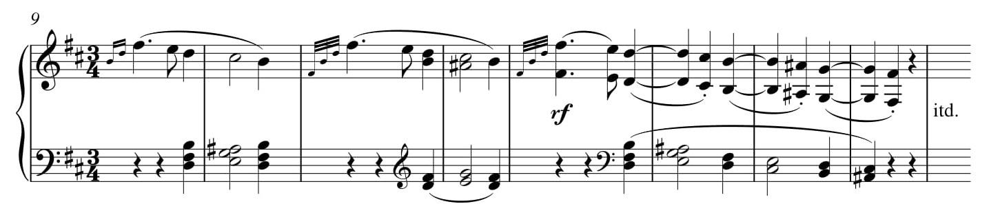 Przykład 16. Ludwig van Beethoven, <i>Sonata fortepianowa</i> op. 10 nr 1, cz. I, <i>Allegro molto e con brio</i> w transpozycji o półton w dół, t. 9–16