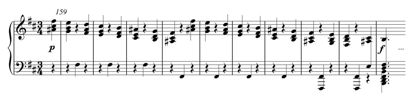 Przykład 18. Ludwig van Beethoven, <i>Sonata fortepianowa</i> op. 10 nr 1, cz. I, <i>Allegro molto e con brio</i> w transpozycji o półton w dół, t. 159–168